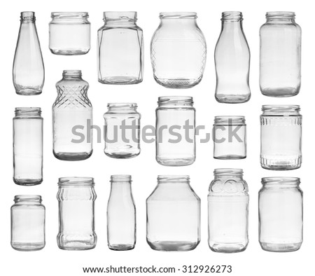 Collection of empty jars isolated on white background - stock photo