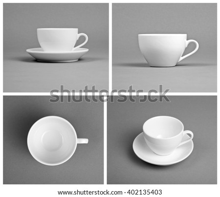 Collection of empty white cups on gray background, top, front, side view - stock photo