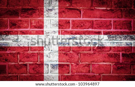 Collection of european flag on old brick wall texture background, Denmark - stock photo