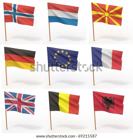 Collection of european flags. Norway, Holland, Macedonia, Germany, France, Great Britain, Romania, Albania. 3d - stock photo