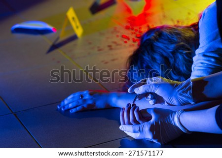 Collection of evidence in crime scene investigation - stock photo