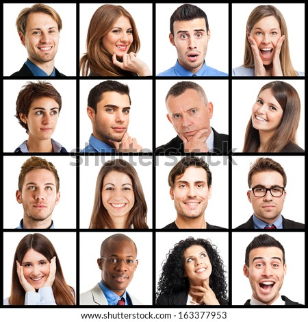 Collection of facial expressions - stock photo