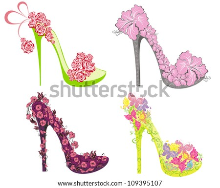 Collection of fashion high heels shoes - stock photo