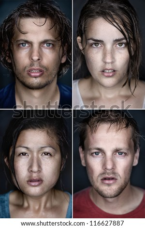 collection of fine art highly detailed portraits. wet faces with intense cold stare and shallow depth of field. mixed race group of people. - stock photo