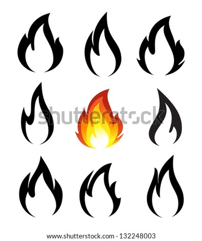 Collection of fire icons - stock photo
