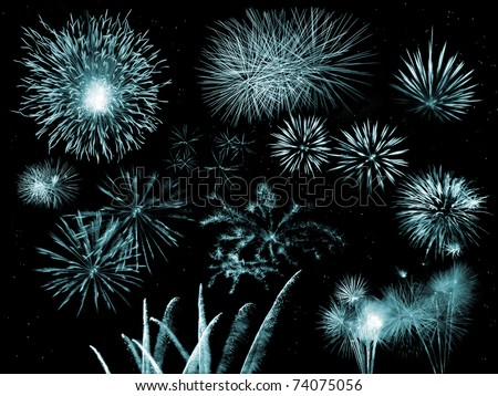 collection of fireworks - stock photo