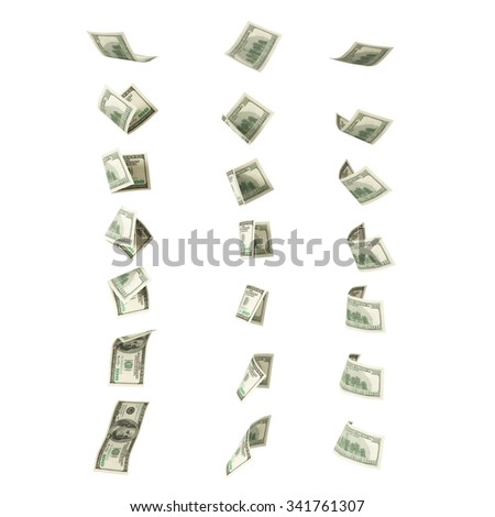 Collection of flying hundred dollars banknotes - stock photo