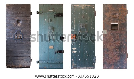 Collection of four old prison doors, prisons in the Netherlands - stock photo