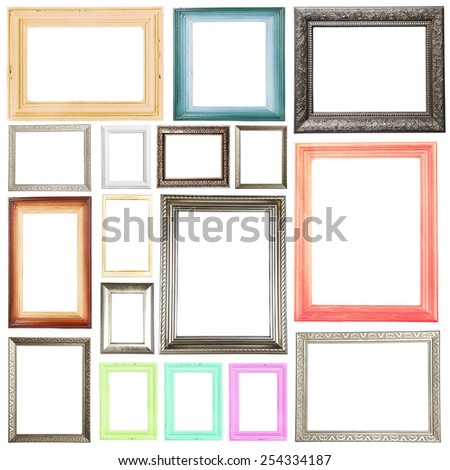Collection of frames isolated on white - stock photo