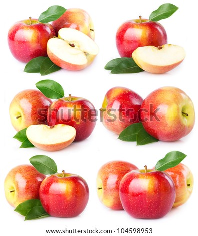 collection of fresh apples isolated on white background - stock photo