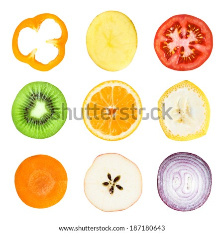 Collection of fresh fruit and vegetable slices on white background. Orange, kiwi, carrot, apple, banana, pepper, potato, tomato and onion - stock photo