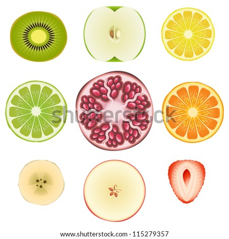 Collection of fresh fruit slices - Set 1 - stock photo