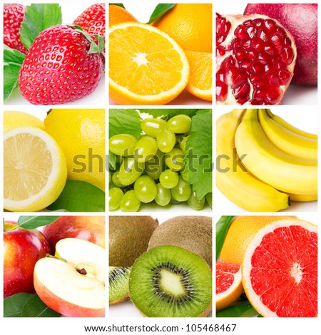 collection of fresh fruits - stock photo