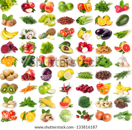 collection of fresh fruits and vegetables isolated on white background - stock photo