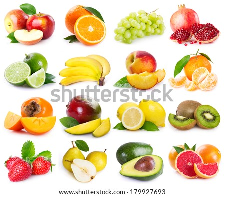 collection of fresh fruits on white background - stock photo
