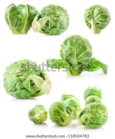 Collection of Fresh green Brussels sprouts isolated on white background - stock photo