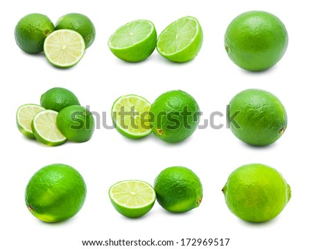Collection of fresh green limes isolated on white background - stock photo