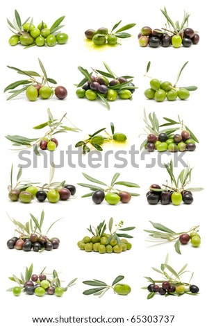 collection of fresh olives - stock photo