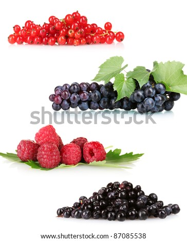 collection of fresh ripe berry - stock photo