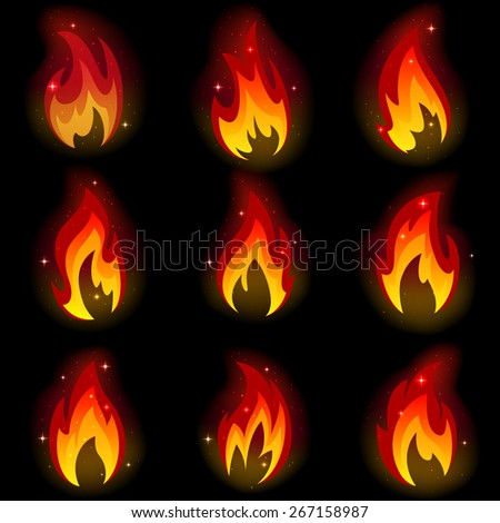 Collection of friezes from the fire on a black background. - stock photo