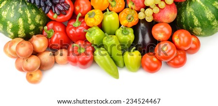 Collection of fruit and vegetables isolated on white - stock photo