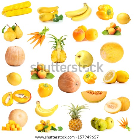 Collection of fruits and vegetables isolated on white - stock photo
