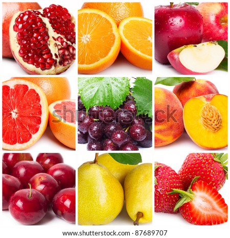 collection of fruits, close-up - stock photo