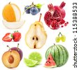 Collection of fruits isolated on white background, closeup - stock photo
