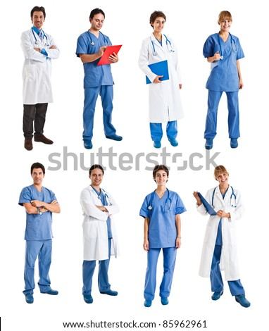 Collection of full length portraits of medical people - stock photo