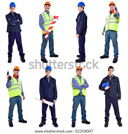 Collection of full length portraits of workers - stock photo
