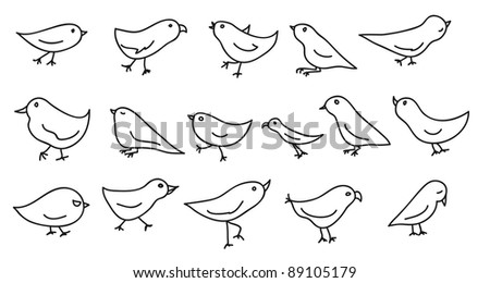 collection of 16 funny birds in jpg - stock photo