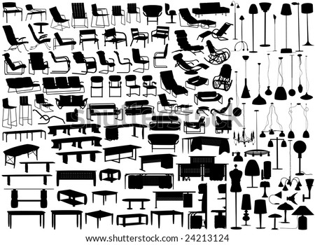Collection of furniture and light fixture silhouettes (vector file also available) - stock photo