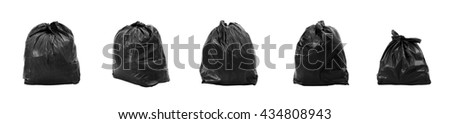 Collection of Garbage bag different composition, isolated on white background. - stock photo