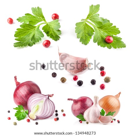 Collection of garlic and onion with peppercorn and parsley isolated on white background - stock photo