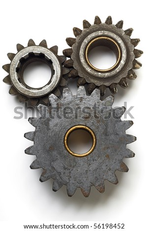 collection of gears on white - stock photo