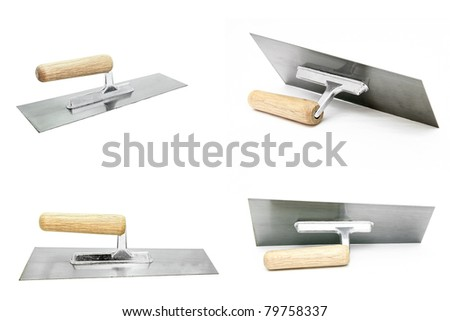 collection of german style construction lute trowel tool or equipment - stock photo