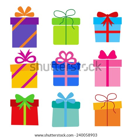 collection of gift boxes - stock photo