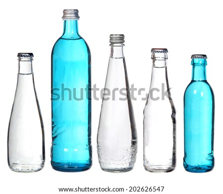 collection of glass bottles isolated on white  - stock photo