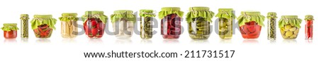 Collection of Glass jars of preserved isolated on white - stock photo