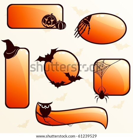 Collection of glossy halloween banners (jpg); vector version also available - stock photo
