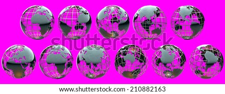 Collection of glossy metallic globes with continents on a metal grid - isolated on magenta - stock photo