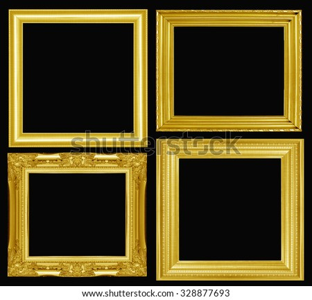 collection of gold picture frame. Isolated - stock photo