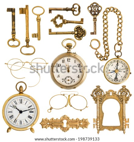 collection of golden antique accessories. vintage keys, clock, compass, glasses, pocket watch, frame isolated on white background - stock photo