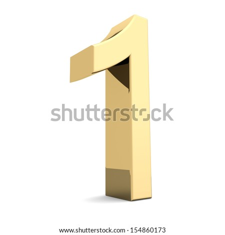 Collection of golden numbers on a white background - stock photo
