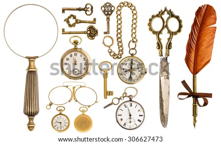 Collection of golden vintage accessories and antique objects. Old keys, clock, loupe, compass, ink feather pen, scissors, glasses isolated on white background - stock photo
