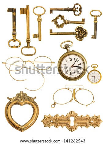 collection of golden vintage accessories. antique keys, clock, frame, glasses isolated on white background - stock photo