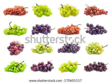 Collection of grapes isolated on white background - stock photo