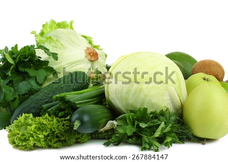 collection of green vegetables and fruits - stock photo