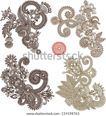 collection of hand draw line art ornate flower design. Ukrainian traditional style. Raster version - stock photo