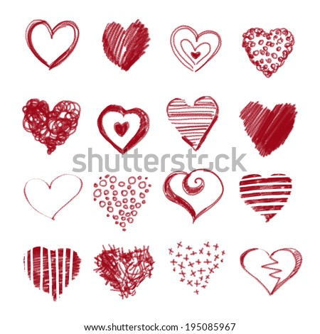 collection of hand-drawn sketch hearts - stock photo